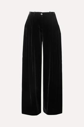 Nili Lotan Inez Velvet Wide-leg Pants - Black