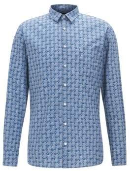 BOSS Hugo Pineapple Cotton Sport Shirt, Slim Fit Catitude M Dark Blue