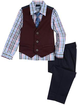 Izod Toddler Boy Denim Knit Vest, Plaid Shirt & Pants Set