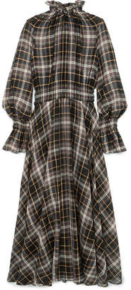 Beaufille - Shirred Checked Cotton And Silk-blend Maxi Dress - Brown