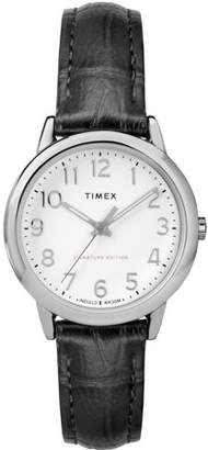 Timex Women's Easy Reader Signature Black/White Watch, Leather Strap