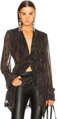 Ann Demeulemeester Pinstriped Sheer Sleeve Coat in Black & Off White | FWRD