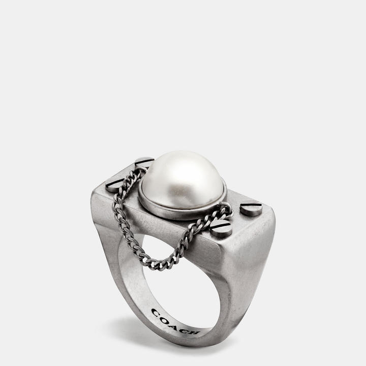 Coach   COACH Coach Pearl Chain Ring