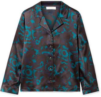 Eres Beryl Floral-print Silk-satin Pajama Top - Blue