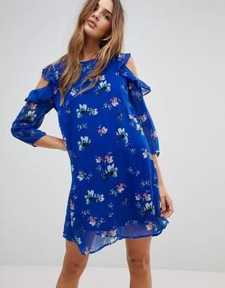 Vero Moda Floral Cold Shoulder Dress With Flutter Shoulders