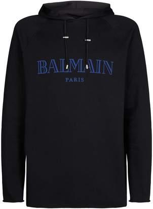 Balmain Raw Trim Logo Hoodie