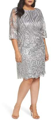 BRIANNA Sequin Embroidered Lace Sheath Dress