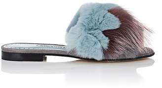 Manolo Blahnik Women's Pelosusrafo Suede & Fur Slide Sandals