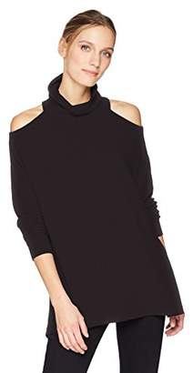 Michael Stars Women's Madison Brushed Jersey Long Sleeve Cold Shoulder Turtleneck