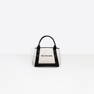 Balenciaga Small size cotton canvas and calfskin tote bag