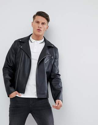 Asos DESIGN leather look biker jacket in black