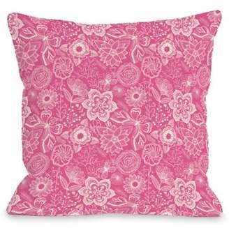 One Bella Casa Kiley floral bright fuchsia - Fucshia 16x16 Pillow by OBC