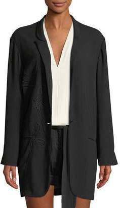 Halston Floral-Embroidered Crepe Georgette Jacket