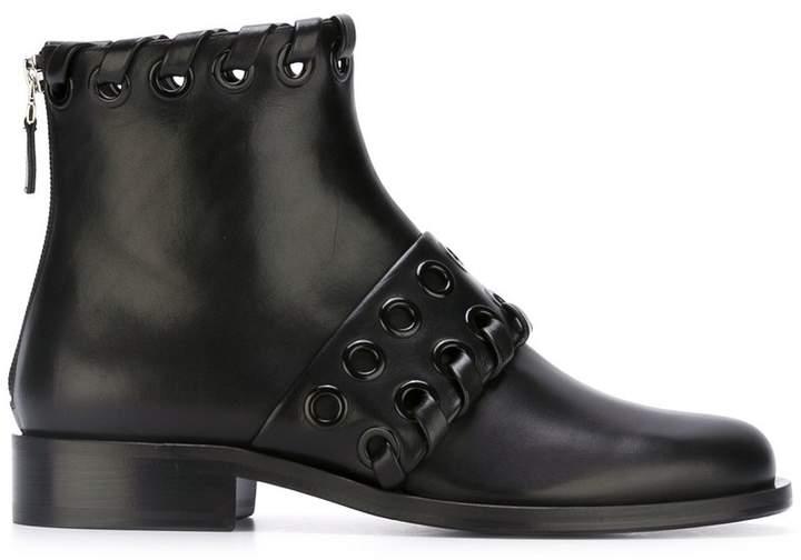 Fendi macro-weave ankle boots