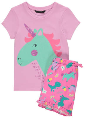 George Pink Unicorn T-Shirt and Ruffled Shorts Outfit