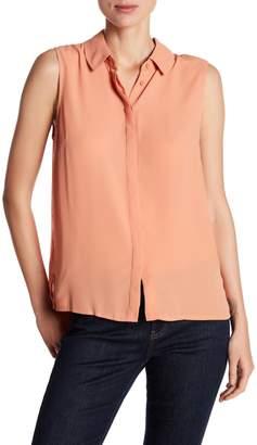 Catherine Malandrino Spread Collar Sleeveless Blouse