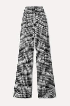 Carolina Herrera Prince Of Wales Checked Wool And Silk-blend Wide-leg Pants - Black