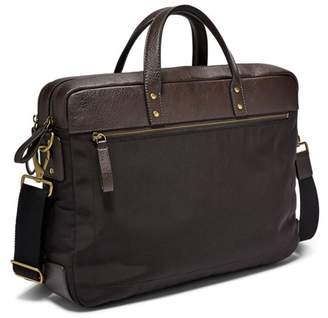 Fossil Haskell Double Zip Briefcase Bag Black