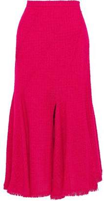 Oscar de la Renta Fluted Wool-blend Boucle-tweed Midi Skirt