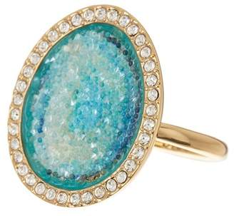 Adore Gold Plated Blue Swarovski Graphic Crystal Inlay & Pave Halo Ring - Size 8