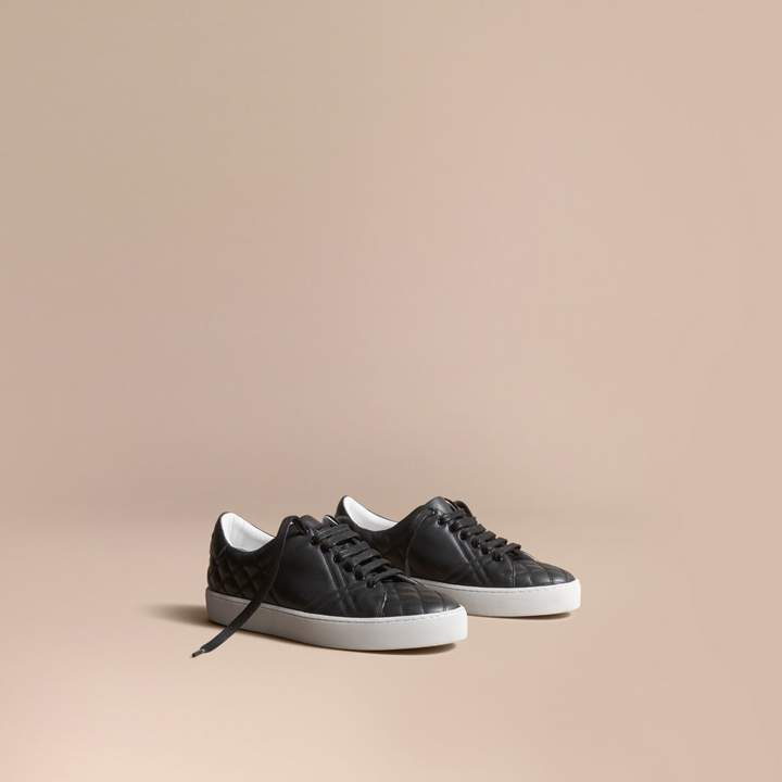 Burberry Check-quilted Leather Trainers