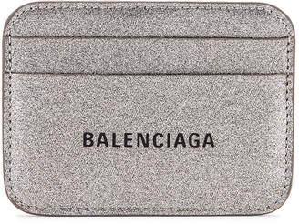 Balenciaga Glitter BB Card Holder in Dark Silver & Black | FWRD