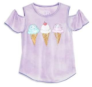 Chaser Girls' Cold-Shoulder Ice Cream Tee - Little Kid, Big Kid