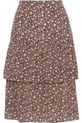 Vanessa Bruno Tiered Floral-print Crepe De Chine Skirt