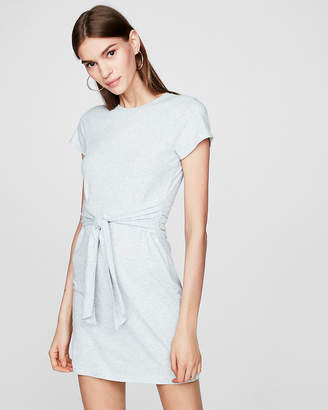Express Heathered Tie Front T-Shirt Dress