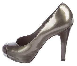 Chanel CC Metallic Patent Leather Cap-Toe Pumps