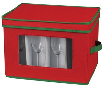 Household Essentials Holiday Stemware Flute Chest