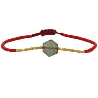 LeJu London - Hexagon Bracelet With Labradorite Semi Precious Stone & 14K Gold Filled Details