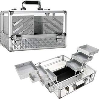 clear Ver Beauty 3.8mm armored acrylic makeup case jewelry portable travel organizer with 6 extendable trays cover micro-fiber cloth brush holders keylocks - vp016