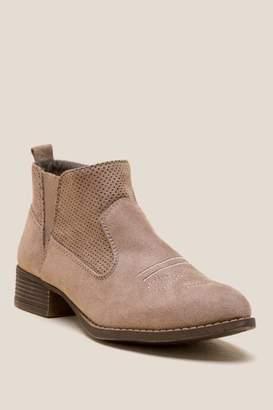 francesca's Sadina Western Ankle Boot - Taupe