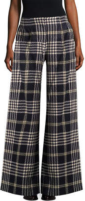 Anna Sui Wide Leg Tartan Pant