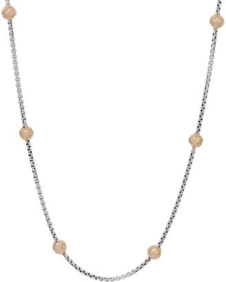 "Jai JAI Sterling Silver & 14K Gold Station Box Chain 18"" Necklace, 17.1g"