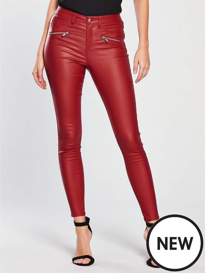 Coated Zip Skinny Trouser - Red