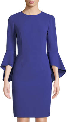 Tahari ASL Georgie Cascading Bell-Sleeve Sheath Dress