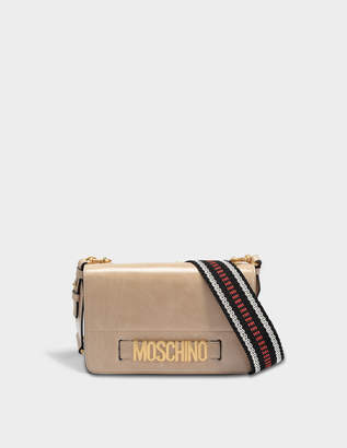 Moschino Lettering Shoulder Flap Bag in Beige Deerskin