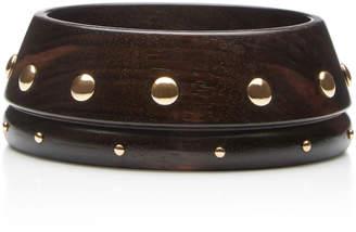Rosa de la Cruz 18K Gold Stud-Embellished Ebony Bracelet