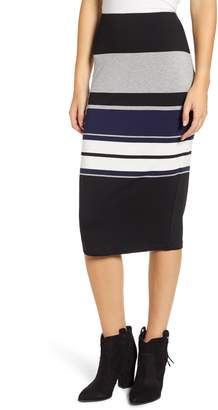 Love, Fire Placement Stripe Midi Skirt