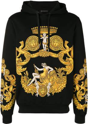 Versace Sweatshirt With Hood And Fantasy Print