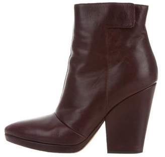 Vince Leather Pointed-Toe Ankle Boots