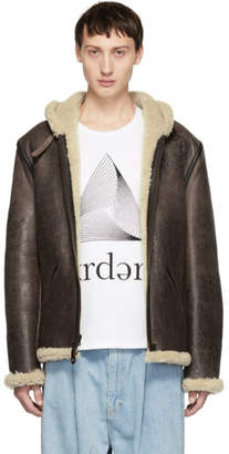 Schott Brown Shearling Hooded Jacket