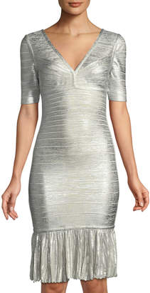 Herve Leger Foil Metallic Pointelle Flounce-Hem Bandage Dress