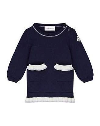 Moncler Long-Sleeve Virgin Wool Dress w/ Ruffle Trim, Size 6M-3