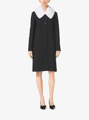 Michael Kors Mink-Collar Silk-Cloque Barrel-Back Coat