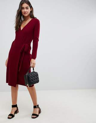 Asos Design DESIGN Knitted Midi Dress In Rib With Wrap