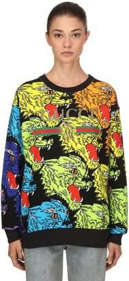 Gucci Angry Tiger Printed Cotton Sweatshirt