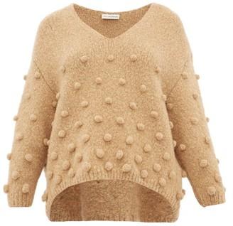 Vika Gazinskaya Pom Pom Applique Sweater - Womens - Camel